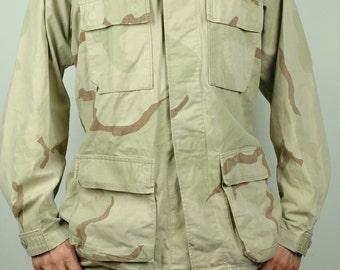 Men's Medium Long Marine Corps Camo Jacket Genuine U.S. Army Original Military Coat Desert Camouflage Beige Man's Long Sleeve USMC Large