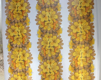 Sweet vintage pair of Curtain lengths with retro floral pattern. Made in Sweden Scandinavian.