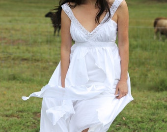Silk Cotton Bohemian wedding dress with cotton lace detailing. Soft and flowing. Easy fit.