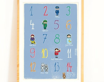 Children's Poster with Numbers and German Nursery Rhyme