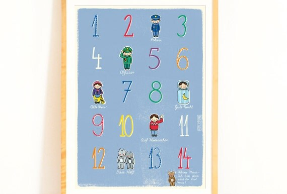 children 39 s poster with numbers and german nursery rhyme. Black Bedroom Furniture Sets. Home Design Ideas