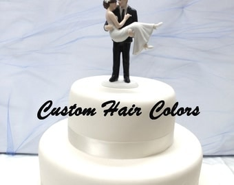 Personalized Wedding Cake Topper - Groom Carrying Bride - Romantic Cake Topper - Swept Up In His Arms - Bride and Groom Wedding Cake Topper