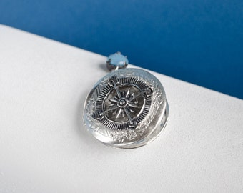 Compass Locket Necklace, Vintage Locket Necklace, Secret Locket, Antique Locket, Gift for Her,