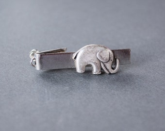 Men's Tie Clip Elephant Tie Clip Tie Bar Republican Tie Clip Elephant Tie Bar Steampunk Style Tie Clip Antique Silver Men's Gifts