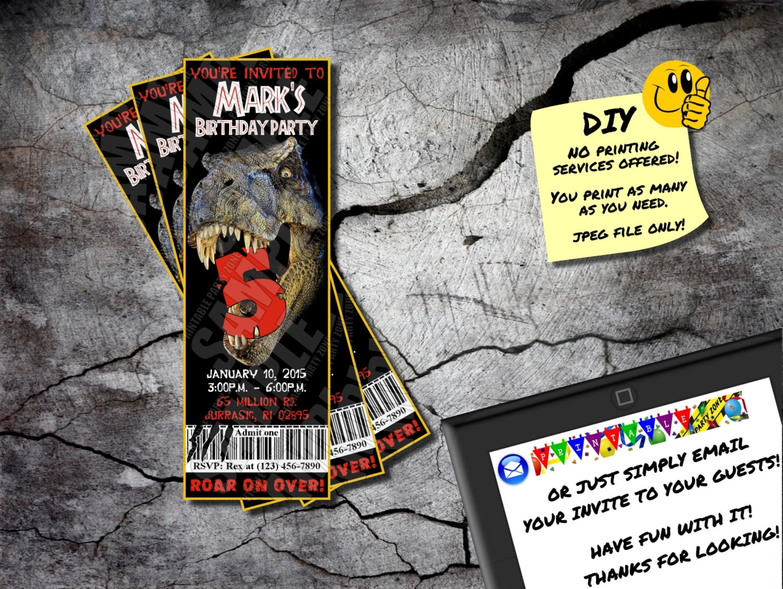 JURASSIC PARK INVITE Printable Birthday Ticket Emailable