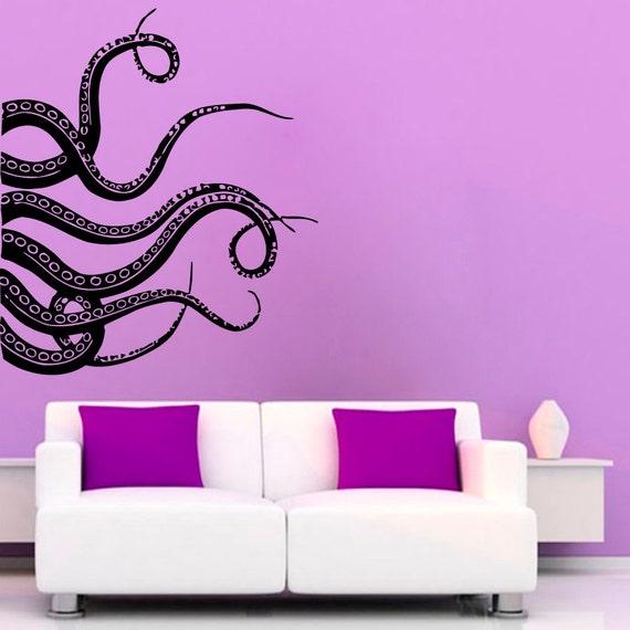 octopus wall decals tentacles stickers bathroom wall decor sea. Black Bedroom Furniture Sets. Home Design Ideas