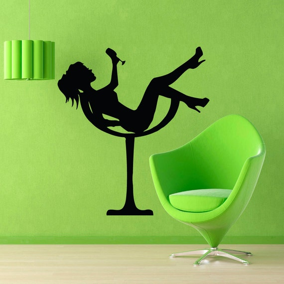 Girl in High Heels in a Martini Glass Wall Decal by WallDecalswithLove