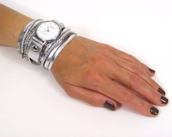 Wrap Watch In Polished Silver Leather-Women Watch-Wrap Watches-Watch-Wrist Watches-Watches-Women Watches-Wrist Watch Wrap-Sigal-Levi-Silver