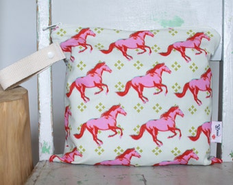 Wet Bag in Mustang Horses Pink, Red and Mustard on Cream - Waterproof Wet Bag Wetbag Swimsuit bag Nappy Bag Procare heat sealed