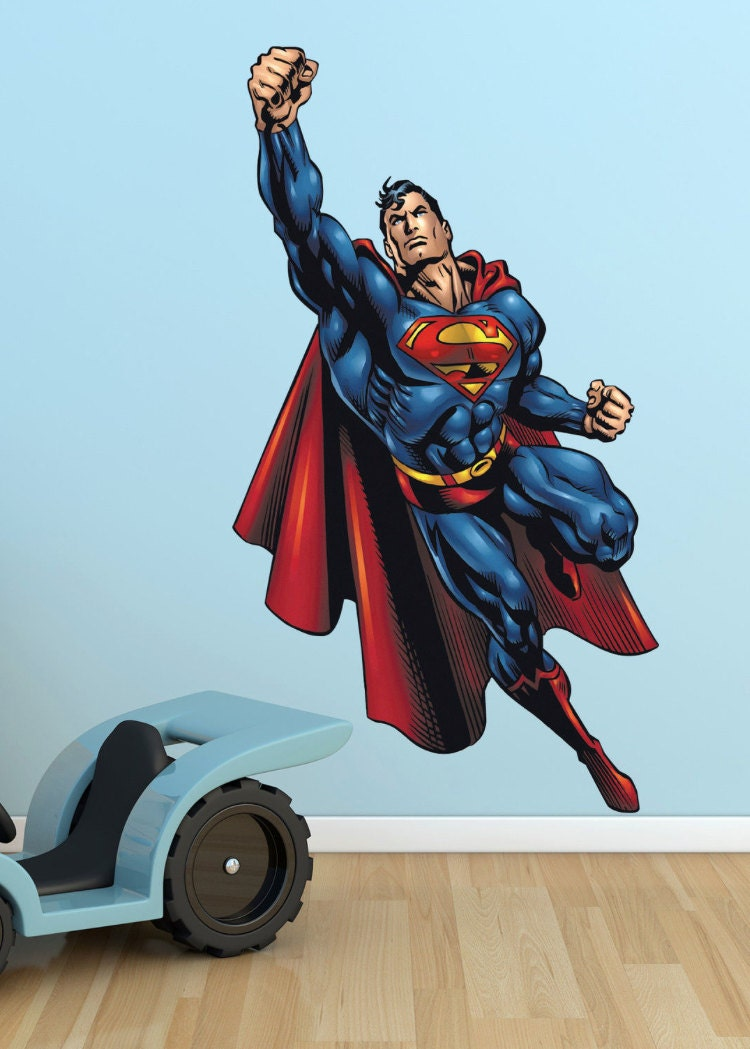 superman wall sticker mural decor wall art by wallmakeoveruk