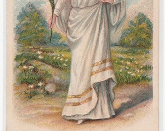 "Lovely Flowing Lady "" Innocence"",Grecian Style Dress, Carries Flower, Embossed Antique Postcard"