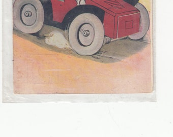 1908 Mr And Mrs Humanized Frogs Go For A Ride In Their Automobile Antique Postcard