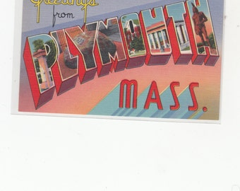 """Large Letter Linen Postcard """"Greetings From Plymouth Ma."""""""