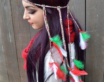 Holiday Feather Headband - Christmas Feather Headband - Red White Green Feathers - Mexican Italian Persian Flag - Hippie - Festivals - Raves