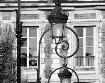Paris black and white photography, Place des Vosges, Paris photography, black and white photo, Paris streetlamps, Paris lamp posts