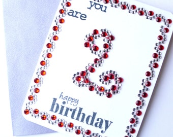 Kids Birthday Card, Second Birthday Card, Girl Birthday, 2nd Birthday card, Baby Birthday, Milestone Birthday, 2nd birthday girl, 2nd bday