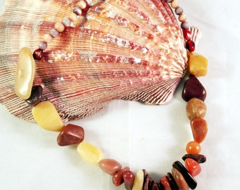 Rocky Shores Gemstone Necklace Chunky Agate, Carnelian, Amber