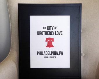 """10"""" x 13"""" Philadelphia Letterpress Wall Art"""