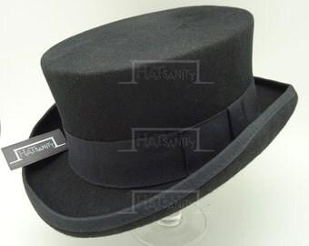 VINTAGE Wool Felt Formal Tuxedo Coachman Topper Top Hat - BLACK