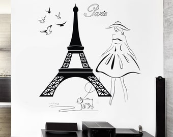 Wall Sticker Vinyl Decal Eiffel Tower Girl With Dog Doves Paris Travel (z1951)
