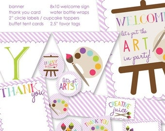 Painting / Art Party Printable Party Pack - Instant Download - NOT personalized