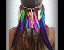 Rainbow, Bird of Paradise, Feather, headband, native, american, Style, festival, bohemian, wedding, veil, colorful, rave, edm, plur, boho