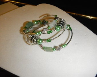 One of a Kind:  Jade and Pearl Wrapped Bracelet