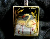 Hand Painted Flamingo Cameo Pendant Sterling Silver Original Art Bk Onyx Gem Artist Signed Jewelry Holiday Gift Women Birthday Anniversary