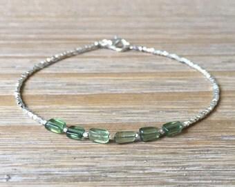 Green Apatite and Karen Hill Tribe Silver Bracelet, Beaded bracelet, Gemstone bracelet