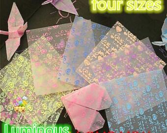 """7 colors 70 Sheets Luminous Origami Paper paper crane kit  four size """"5x5""""/  """"7x7""""/  """"9x9""""/  """"16.5x16.5""""cm Squares paper 7 Colors diy crane"""