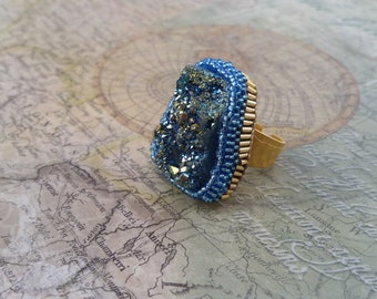 Blue Druzy, Statement Ring, Large Gold Ring, Gold druzy ring, Statement Ring, Unique Rings, Statement Jewelry, Druzy Jewelry, large ring
