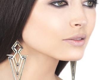 CHEVRON EARRINGS - Brass Earrings - Art Deco - Native American - Haus of Sparrow - Women's Earrings by Designer Monica Wallway