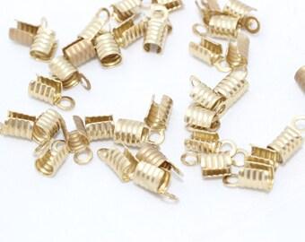100 Pcs 4x8mm Raw Brass Cord End , Brass end cap - Crimps - S5K , CR4