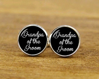 Grandpa Of The Groom Cufflinks, Custom Wedding Cuff Links, Grandfather Cufflinks, Personalized Cufflinks, Grandfather Gift, Tie Clips Or Set