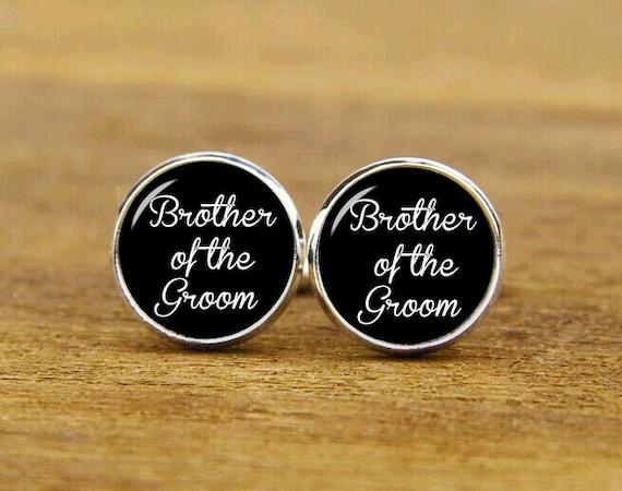 brother of the groom cufflinks, custom personalized wedding cuff links, custom round or square cufflinks & tie clips, groom cufflink for men