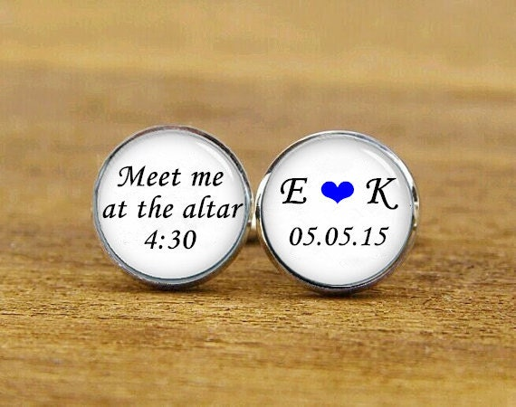 meet me at the altar cufflinks, custom initial cufflinks, custom name date, custom wedding cufflink, round, square cufflinks, tie clips, set