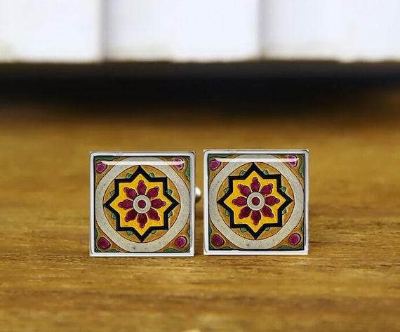 vintage tile square cuff links, islamic tiles cufflinks, morocco style, custom wedding cufflinks, round, square cufflink, tie clips, or set