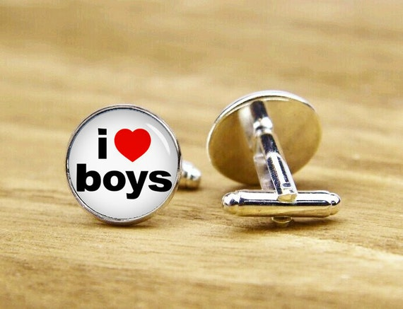 i love boys cufflinks, custom red heart & text, personalized cufflinks, custom wedding cufflinks, round, square cufflinks, tie clips, or set