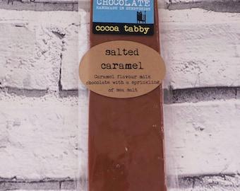 Chocolate bar - Caramel and Sea Salt Belgian milk chocolate. Handmade in Derbyshire