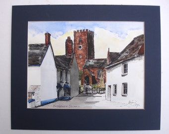 Signed Kevin Day of Hatherleigh Devon 1980s Vintage Art OOAK Painting Vintage Watercolor and Ink Painting Vintage Landscape Painting