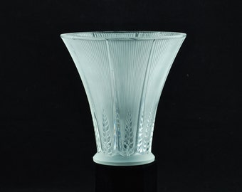 "Antique René Lalique ""Epis"" Art Nouveau Frosted Crystal Vase"