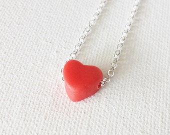 Red heart necklace, red charm necklace, red necklace, valentines day, tiny heart jewelry, heart pendant, gift for girlfriend,valentines gift