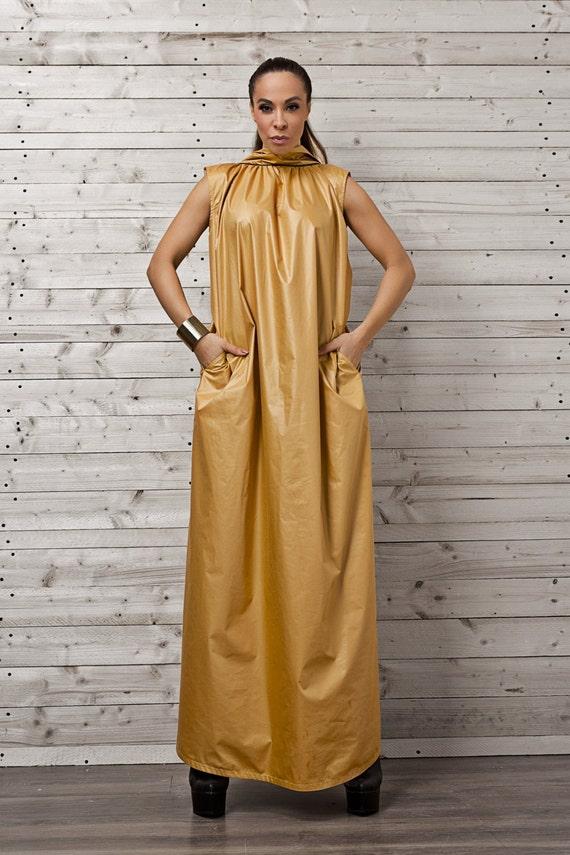 Long Maxi Dress/Loose Mustard Kaftan/Open Back Party
