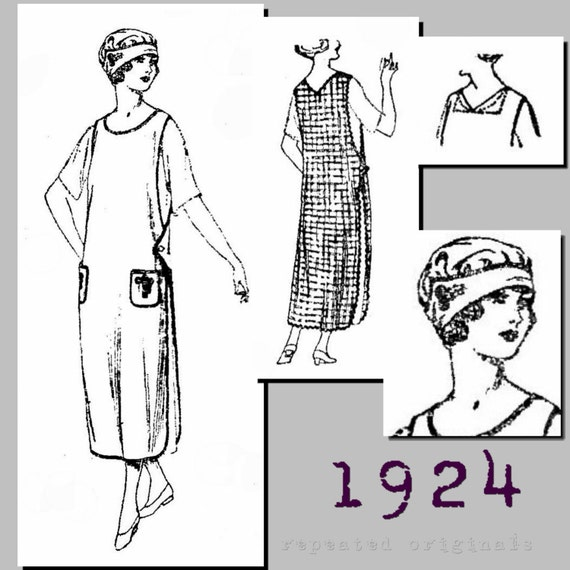 Old Fashioned Aprons & Patterns Ladies Slip Over Apron and Cap (40 bust)  - Vintage Reproduction PDF Pattern - 1920s - made from original 1924 pattern $11.75 AT vintagedancer.com