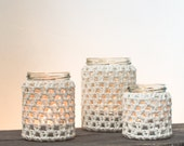 Set of 3 Cream 100% Cotton Crocheted Glass Jar Candle Holders