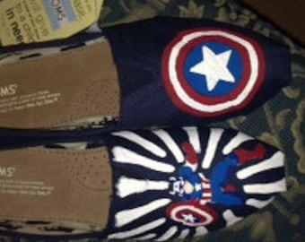 Hand Painted Captain America Shoes