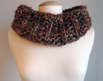 Hand Knit soft bulky multicolor brown black burgundy fur winter cowl neck warmer