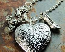 Cinderella Necklace Silver Charm Locket for girls or women