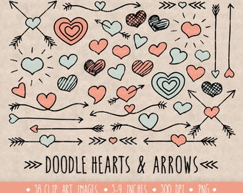 Hearts and Arrows Clip Art Set. Hand Drawn Mother's Day Clipart. Doodle Arrows and Hearts in Mint and Pink. Mother's Day Clip Art (0009)