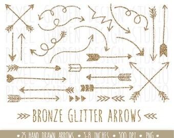 Bronze Glitter Arrows Clip Art. Hand Drawn Arrows Clipart. Glitter Doodle Arrows. Metallic Tribal Arrow Images. Sparkly Glitter Arrows(0001)
